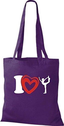 ShirtInStyle La bolsa de asas Bolsa de algodón I Love Yogo Yoga Sport Gimnástico - fucsia lila, morado
