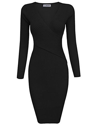 TAM Ware Womens Stylish Surplice Wrap Bodycon Knit Midi Dress ()