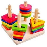 Eğitici Ahşap Oyuncak 4'Lü Geometrik Bul tak Vidalama Oyunu O-B