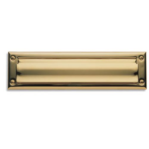Polished Brass Letter Plate (Baldwin 0014.003 Hinged Package Size Letter Box Plate, Lifetime Polished Brass)
