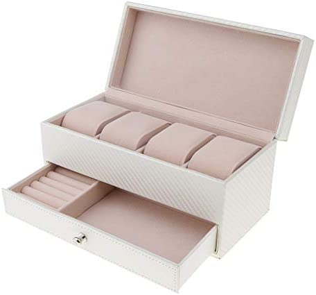 [해외]D DOLITY 고급 PU 가죽 더블 레이어 시계 상자 레이디스 맨 즈 액세서리 케이스 2 컬러-베이 지 / D DOLITY Luxury PU Leather Double Layer Wrist Box Women`s Accessory Case 2 Colors - Beige