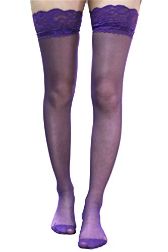 RuoFeng Lovable Sexy Long Tube Silk Stockings 8cm 2 Pairs (Purple) -