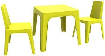 resol Julieta set infantil de 2 sillas y 1 mesa para interior, exterior, jardín - color verde lima: Amazon.es: Hogar