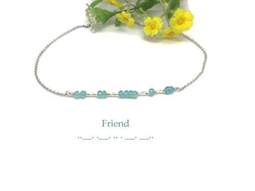 Saananda Morse code bracelet friend BFF jewelry Apatite or custom birthstones blue topaz, aquamarine 6