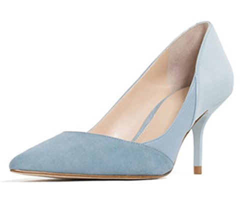 - SUNROLAN AL-321-Light Blue-36 Maggie Women's Patchwork Pointed Toe High Heels Stiletto Dress Pumps Shoes US 6