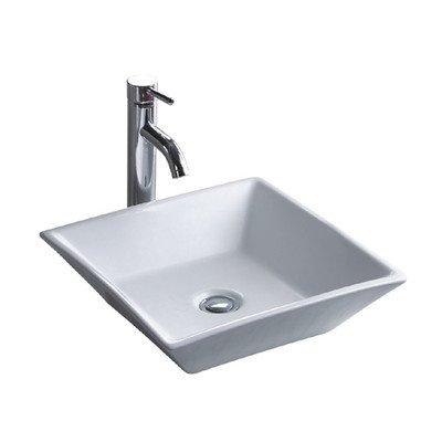 Wells Sinkware CSA1717-5W Square Vitreous Ceramic Lavatory Single Bowl Above Counter Bathroom Sink 17