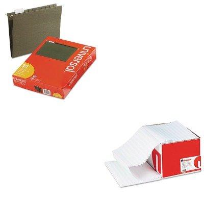 KITUNV14115UNV15850 - Value Kit - Universal Green Bar Computer Paper (UNV15850) and Universal Hanging File Folders (UNV14115)