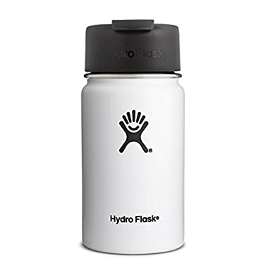Hydro Flask 12 oz Double Wall Vacuum Insulated Stainless Steel Water Bottle / Travel Coffee Mug, Wide Mouth with BPA Free Hydro Flip Cap, White