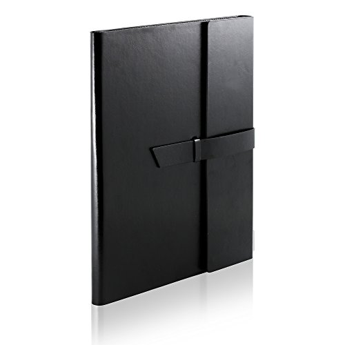 Gallaway Leather Padfolio Portfolio Folder - fits Letter, Legal, A4 Notebooks and Notepads (Black)