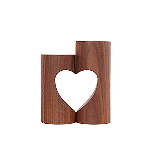 GAOQQ Wooden Heart-Shaped Aromatherapy Candle Holder, Modern Creative Home/Wedding Decoration]()
