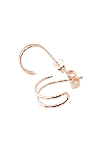 HONEYCAT Faux Double Hoop Hug Earrings | Minimalist, Delicate (Delicate Hoop)