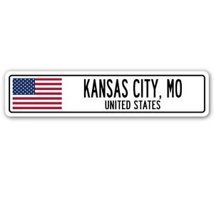 3 Pack: KANSAS CITY, MO, UNITED STATES Street Sign Sticker 3