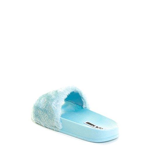 ... Cape Robbin Åpen Tå Fashion Faux Fur Sport Tøffel Flate Sandaler Babyblå  ...