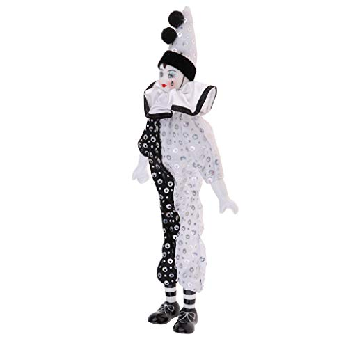 Prettyia 15 inch Adorable Porcelain Hanging Foot Clown Doll Harlequin Doll Circus Props Festival Gift Home Office Ornaments