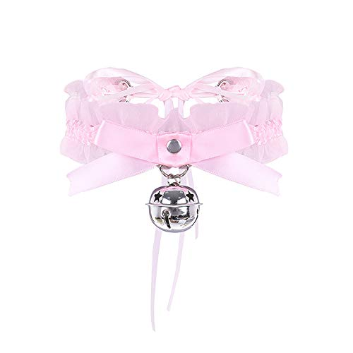 - AotengStar Pink Bell Choker Collar Necklace Lolita Bow Collar Cat Cosplay Kitty Velvet Collars
