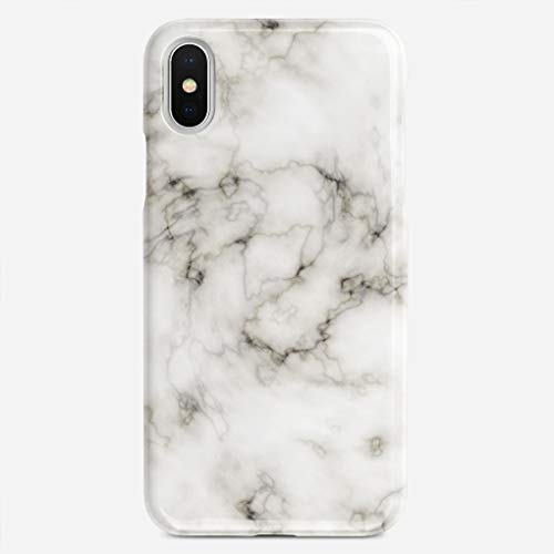GUOOPE Compatible iPhone 7 Plus Case/iPhone 8 Plus Case White Marble Unique Pattern Design Slim Fit Shell Hard Plastic Full Protective Anti-Scratch Resistant Cover ()