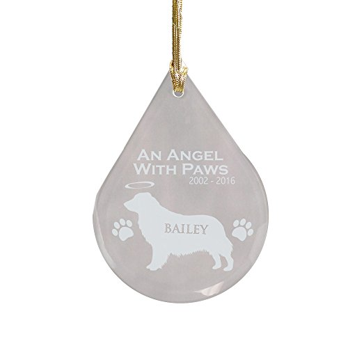 GiftsForYouNow Golden Retriever Dog Memorial Tear Drop Ornament, (Retriever Glass Ornament)