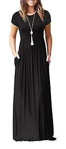 4434eadb9cbf Viishow Women s Short Sleeve Loose Plain Maxi Dresses Casual ...