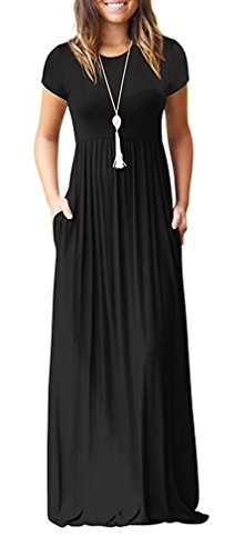 Viishow Women's Short Sleeve Loose Plain Maxi Dresses Casual Long Dresses with Pockets (Black, XL)