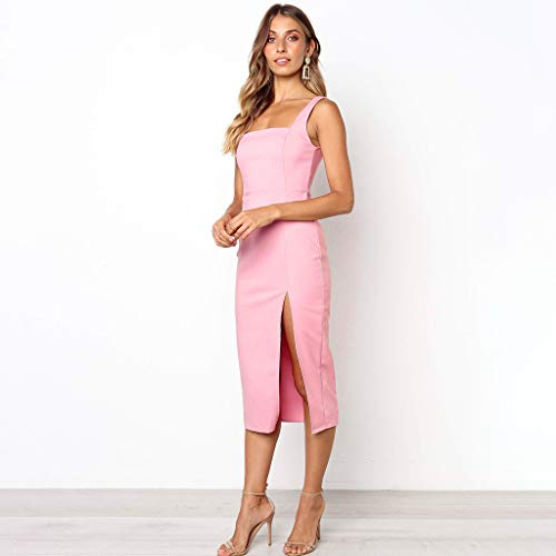 Colore Tubo Odjoy Backless Vestito Abito All'uncinetto Sexy Strappy Senza Signorina Cocktail Diviso Superiore Stretto Rosa Donne Da fan Fionda Maniche Schienale Hip 8PkwXOn0