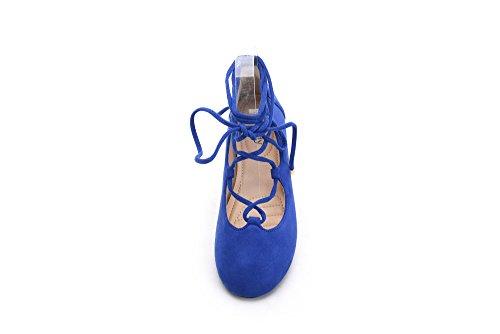 Mila Lady Agnes-3 Strappy Scarpe Con Lacci Tgladiator Piatte R.blue