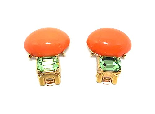 - KENNETH JAY LANE, CORAL CABOCHON & PERIDOT CRYSTAL OR PEARL CABOCHON & AMETHYST CRYSTAL, CLIP EARRING (CORAL/PERIDOT)