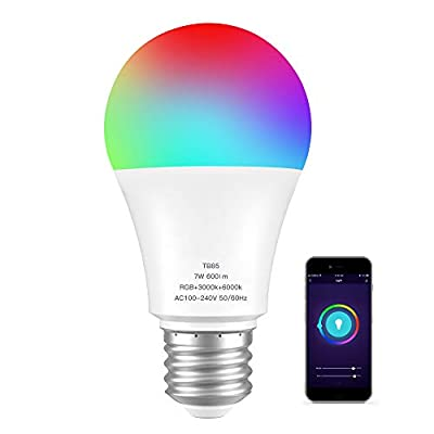 WiFi Smart Light Bulb with RGB Color Changing + Soft White Light + Daylight, A19 E26 Multicolor LED Bulbs Works with Alexa,Google Home and IFTTT, No Hub Required, 7W (60W Equivalent) 600LM 3000K-6000K