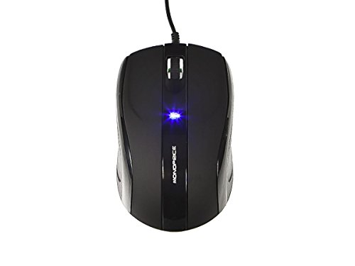 Monoprice Soft Touch 3-Button Optical Mouse, Black (109254) - Soft Touch Buttons