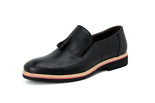 HOMBRE SIN CIERRES Inteligente Borla Zapatos Casual Mocasines Negro