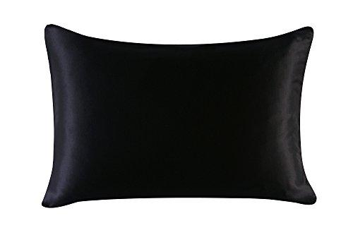 16mm Silk Pillowcase Queen Size Pillow Case Cover with Hidden Zipper Satin Underside Black
