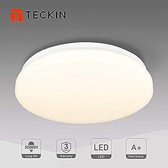 Plafon led de techo,Downlight led empotrable redondo,TECKIN 18W Moderna LED Plafón para Baño Dormitorio Cocina Balcón Pasillo Sala de Estar Comedor 1500 LM, 3000K, Ø28cm, IP44: Amazon.es: Iluminación