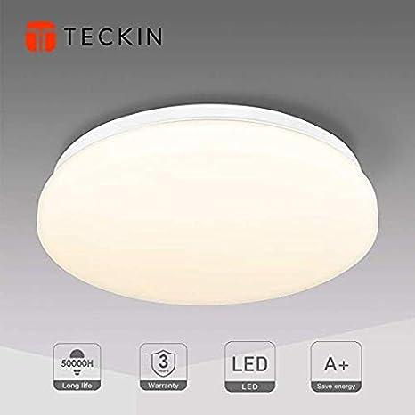Lámpara de Techo,Luz de Techo LED,Downlight Plafon de Techo,Pantallas de Lamparas,Luz Blanca Cálida, Teckin Plafón Luminoso de Baño Balcón Iluminación ...