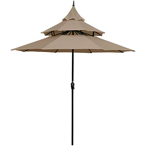ABBLE Outdoor Patio Umbrella 9 Ft Pagoda with Crank, Weather Resistant, UV Protective Umbrella, Durable, 8 Sturdy Steel Ribs, Market Outdoor Table Umbrella, Tan