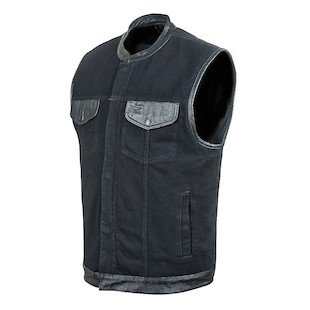 (STREET & STEEL Redwood Denim Motorcycle Vest - 2XL, Black)