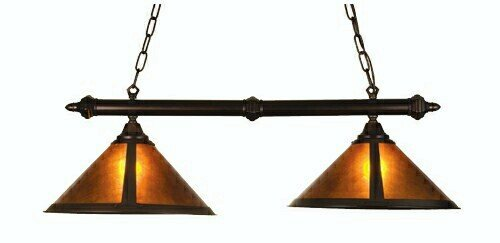 Bronze Mahogany Bar Finish (Rustic Van Erp Amber Mica 2 Light Kitchen Island Pendant)