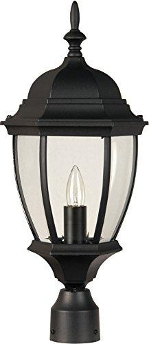 Exteriors Z285-05 Bent Glass 1 Light Post Mount Light Fixture with Clear Beveled Glass, Matte - Glass Mount Beveled Post