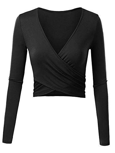 Odosalii Women's Deep V Neck Sexy Long Sleeve Pullover Floral Unique Slim Fit Cross Wrap Crop Tops from Odosalii