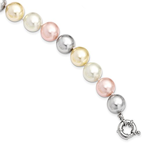 Solid 925 Sterling Silver Majestick 12-13mm Multi-Color Shell Simulated Pearl Bracelet 7.5