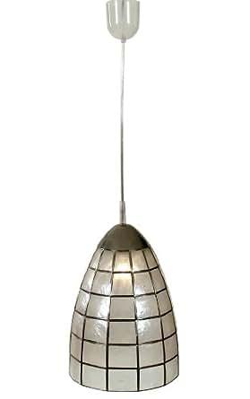 Naeve Leuchten 683614 Shell - Lámpara de techo (metal y concha, IP20, 1 bombilla E27, 60 W, no incluida,22 x 22 x 30 cm), color marrón