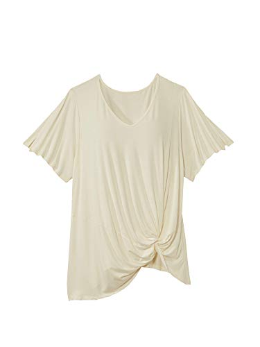 East Adeline Plus Size Jasmine V-Neck - Short Flutter Sleeve Top with Side Twist Knot - Flowy & Lightweight for Spring, Summer, Fall (White, 1X)