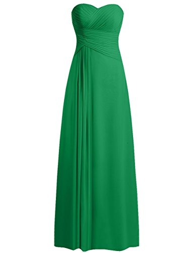 JAEDEN Bridesmaid Dress Prom Dresses Long Sweetheart Chiffon Evening Gown Pleat Strapless Green XL