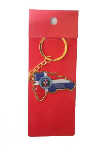 (Dominican Republic Country Shape Flag Metal Keychain .. New)