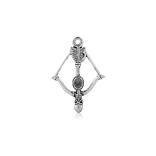 YEYULIN Bow and Arrow Crossbow Tibetan Silver 3D Charms Pendants Beads 50pcs