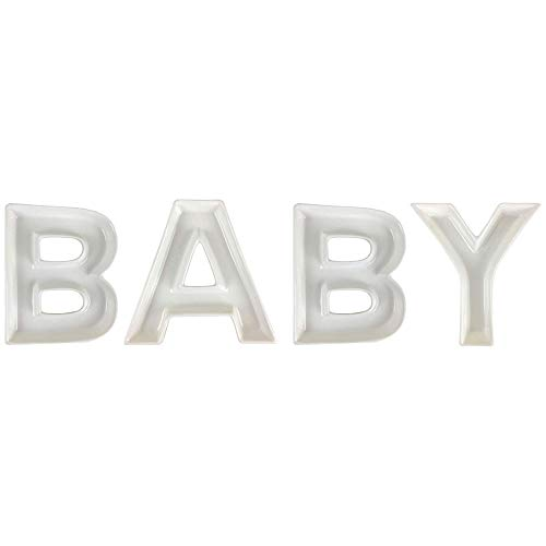 Just Artifacts 5.5inch White Ceramic Letter Dish Set - Letters: BABY - Decorative Dishes for Weddings, Anniversary, Baby Showers, Birthday Parties, and Life -
