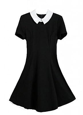 QUANGANG Women's Summer Doll Collar Slim Ruffle Frill Tunic Pleated Dress