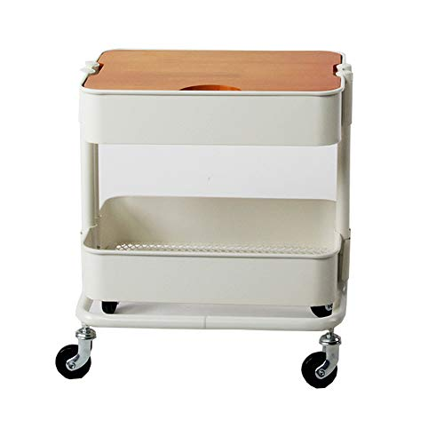Two-Tier Rack Metal Cart with Wheels,Kitchen Multi-Function Fruit and Vegetable Trolley, Storage Cart Ersatile Storage Cupboard with Casters Utility Small Rolling Cart