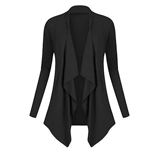 FengGa Women Solid Drape Front Open Irregular Casual Cardigan Thin Coat Tops Outcoats Black