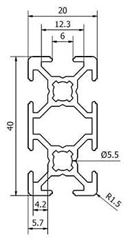 1500 mm Systemprofil Aluminium Profil 2040 Nut 8 Montageprofil Stangenprofil Strebenprofil Nutprofil Bauprofil 20x40