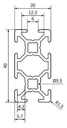 Aluminium Extrusion Profile 2040 T-Slot 6 mm 2000 mm