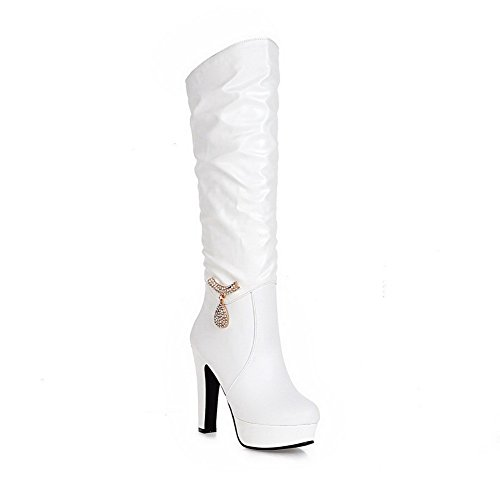 Amoonyfashion Damesschoenen Pu-aantrek-schoenen Met Hoge Hakken Halfhoge Massieve Laarzen Met Glasdiamant, Witte Bedels, 38